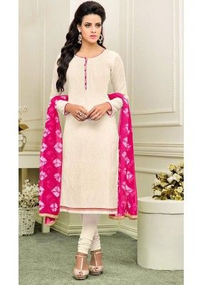Office Wear White & Pink Cotton Churidar Suit - 75266                                                                                                                                                                                 More