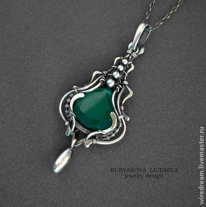 серебряный кулон Жасмин - кулон серебро,серебряные украшения,оникс,зеленый камень