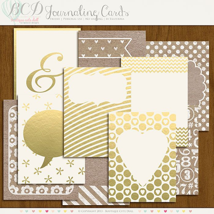 Free Gold Addicted Journal Cards from Boutique Cute Doll ... LOVE THESE!
