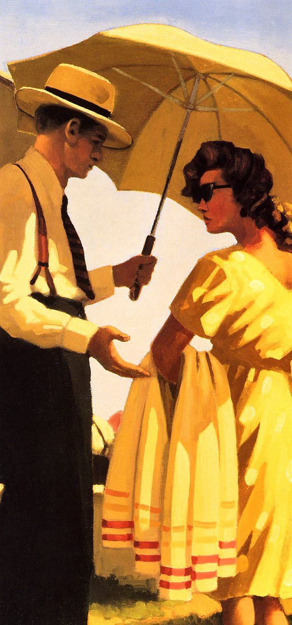"""Jack Vettriano - """"The Direct Approach"""" (detail)"""