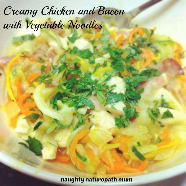 Creamy chicken (dairy free) with bacon and vegetable noodles