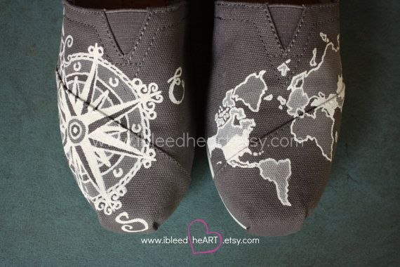 Custom Painted TOMS Shoes - Travel Compass and World Map in Gray and White - Adult