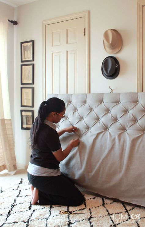 How To Make A DIY Diamond Tufted Headboard. Great tutorial!! More