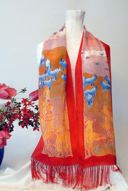 blue sheep silk scarf