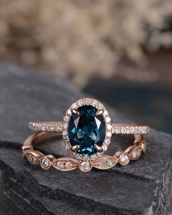 London Blue Topaz Wedding Ring Set Rose Gold Engagement Ring Bridal Sets Wedding Band Women Art Deco Antique Oval Cut Diamond Birthstone