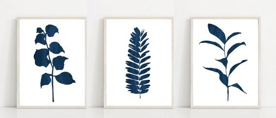 Navy Botanical Prints Set Dark Blue Botanical Wall Art Blue Leaf Print Set Large Leaves Art Set M Paper Art Diy Crafts Valentine Art Projects Paper Art Diy