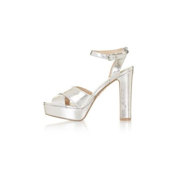 TopShop Mabel Cross Strap Platform Sandals ($52) ❤ liked on Polyvore featuring shoes, sandals, silver, strappy sandals, metallic platform sandals, peep toe sandals, strap sandals and strappy high heel sandals