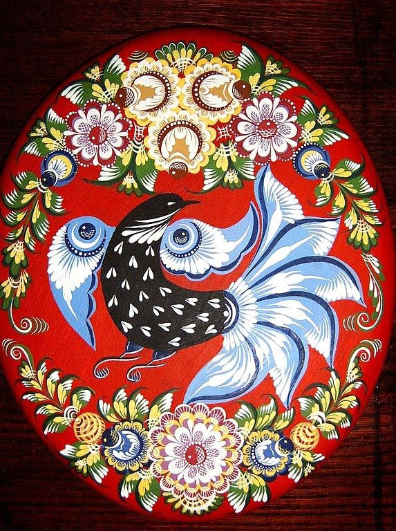 Folk Gorodets painting from Russia. Floral pattern with a bird. #art #folk…