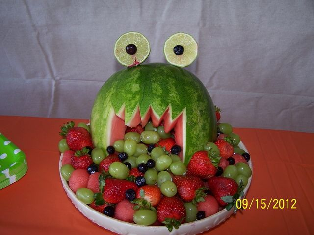 For a monster party! Too cute & easy. A watermelon, a lime (eyes) grapes, a split grape for the pupils, and various small and cut fruit for the platter.