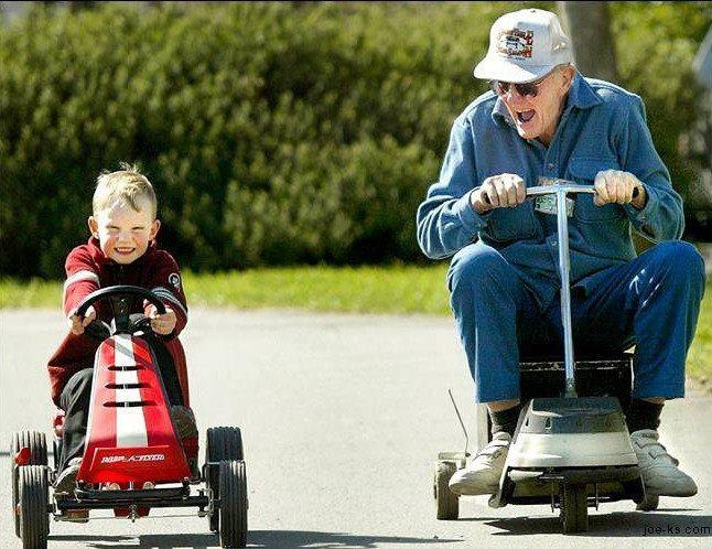 Seniors can stay healthy by being active and interacting with family.