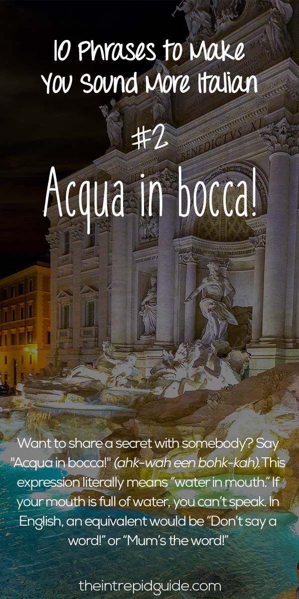 Italian Phrases Acqua in bocca