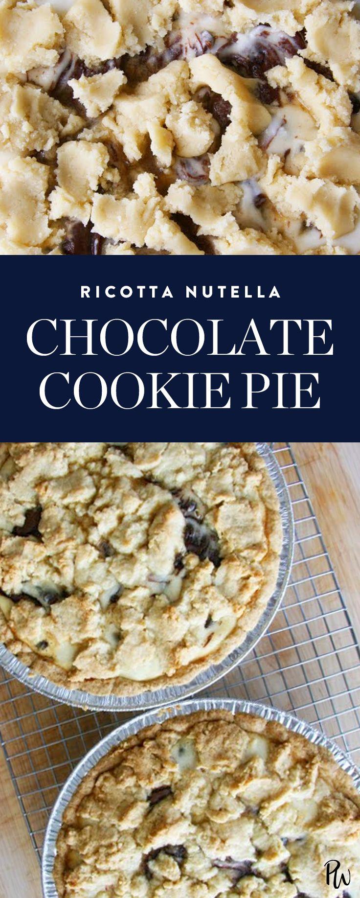 Get this tasty Ricotta Nutella Chocolate Cookie Pie recipe today!