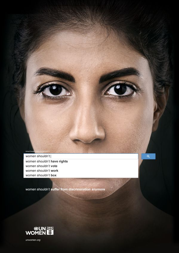 """UN Women: Search Engine ad Campaign 2013-10 for """"women...shouldn't suffer anymore"""""""