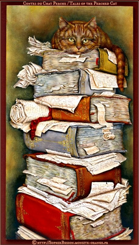 Les Contes du Chat Perche / Tales of the Perched Cat © Sophie BUSSON (Artist, France). Watchful cat atop an untidy stack of books, bookmarks and papers. [Do not remove caption. The law requires you to credit the artist. Link directly to the artist's website. Artist's need to eat too!] PINTEREST on COPYRIGHT: http://pinterest.com/pin/86975836526856889/ HOW TO FIND the artist who created an image & the original artist's website: http://www.pinterest.com/pin/86975836525507659/