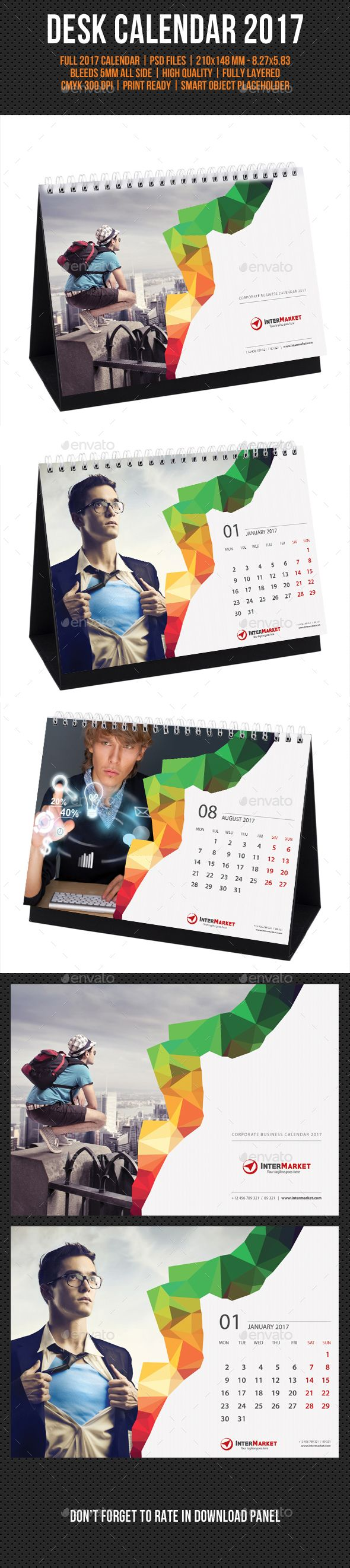 Corporate Desk Calendar 2017 Template PSD. Download here: https://graphicriver.net/item/corporate-desk-calendar-2017-v04/16966251?ref=ksioks
