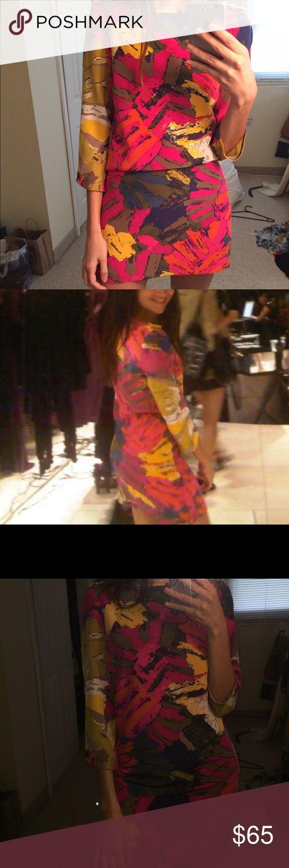 Tibi floral multi color mini dress Tibi dress. Long sleeve, mini dress. Pattern is a multi color / floral tribal. Worn once to a NY Fashion Week event. Tibi Dresses Mini