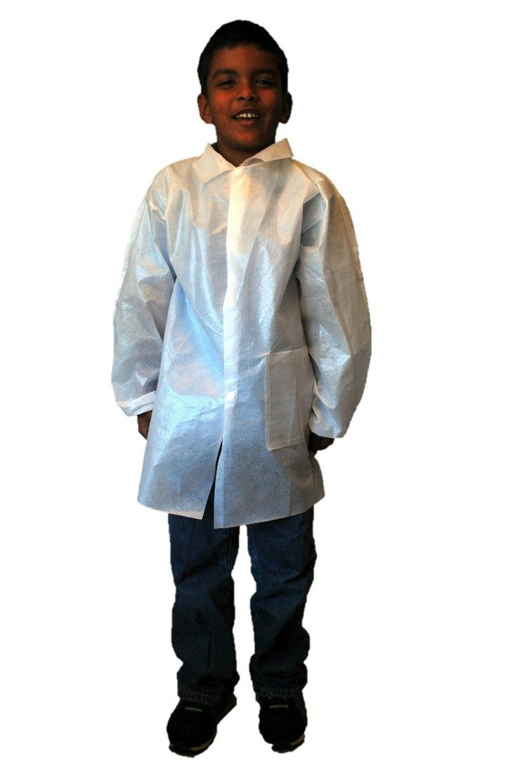 Makerspace Labs child size disposable lab coats provide cost effective peaceof mind. They help protect students while they paint, create and experiment athome or at school. Made from breathable materials, lab coats are lightweightcool and comfortable arms are protected with elastic cuffs and the coat closeswith snaps. Each coat has one pocket. Package of 10 disposable lab coats forkids;