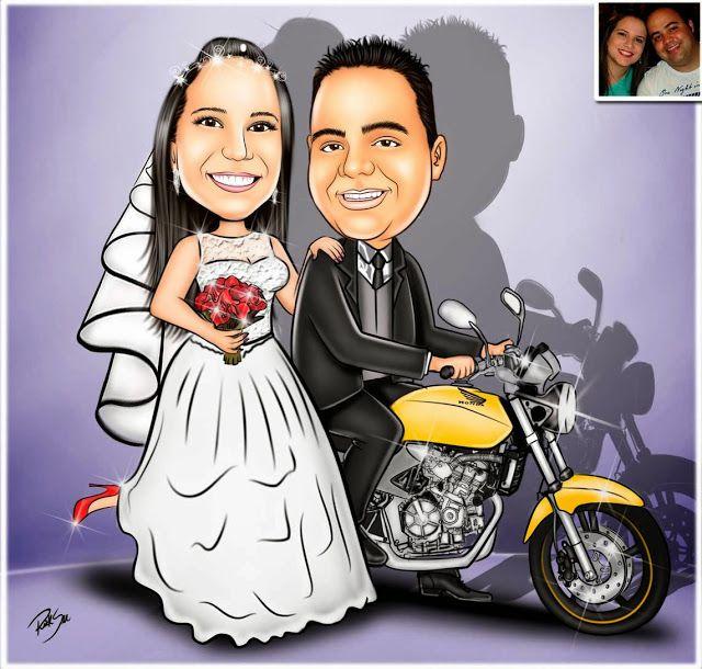 Caricaturas digitais, desenhos animados, ilustração, caricatura realista: Casal de noivinhos na moto !!