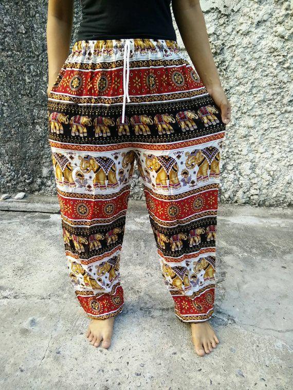 Yoga Harem Pants Elephant Print fabric Gypsy by TribalSpiritShop