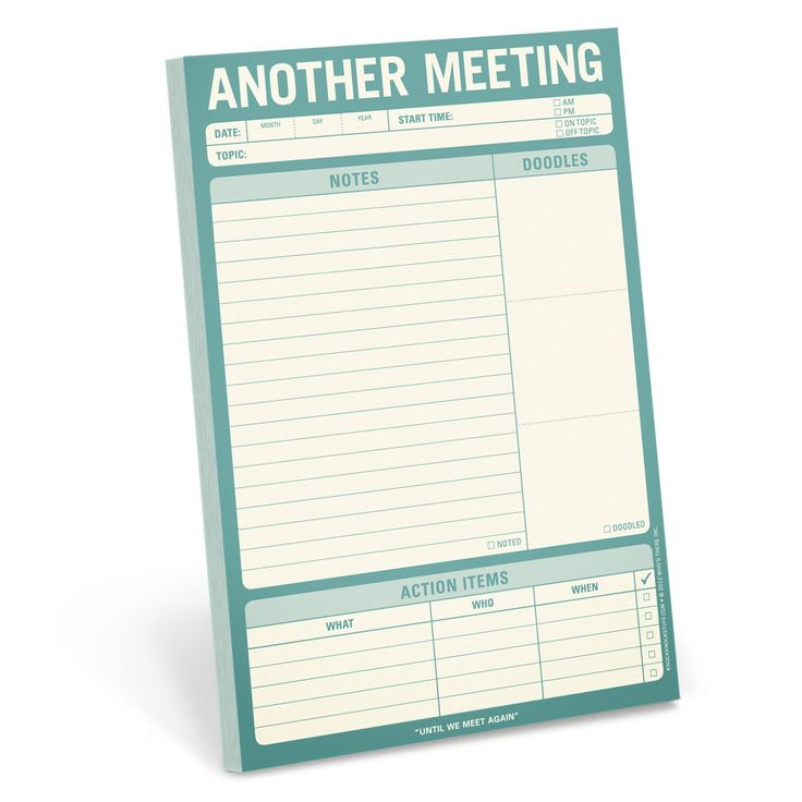 Knock Knock Another Meeting Pad is a clever notepad for taking notes, doodles and action items during office meetings. Funny, cool office supplies!