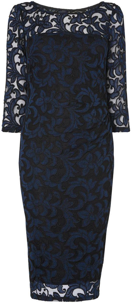 Black and navy bethany filigree lace dress
