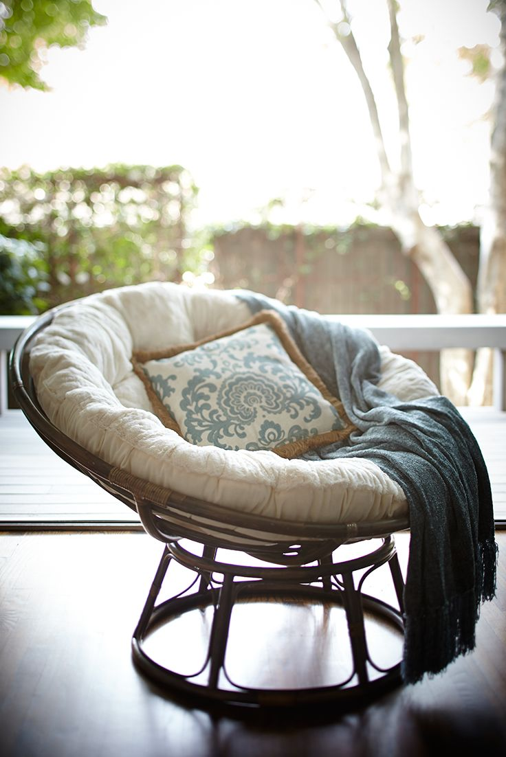 "Somehow just looking at an iconic Pier 1 Papasan Chair makes us feel more relaxed. This one's handcrafted of natural—and naturally durable—rattan, then finished with a rich, brown stain and high-gloss lacquer. All of which is just another way of saying, ""Ahhh."""