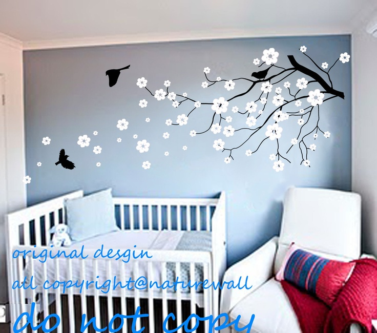 Vinyl wall decals cherry blossom tree decals baby nursery kids flower floral nature white girl - Wall decor girl nursery ...