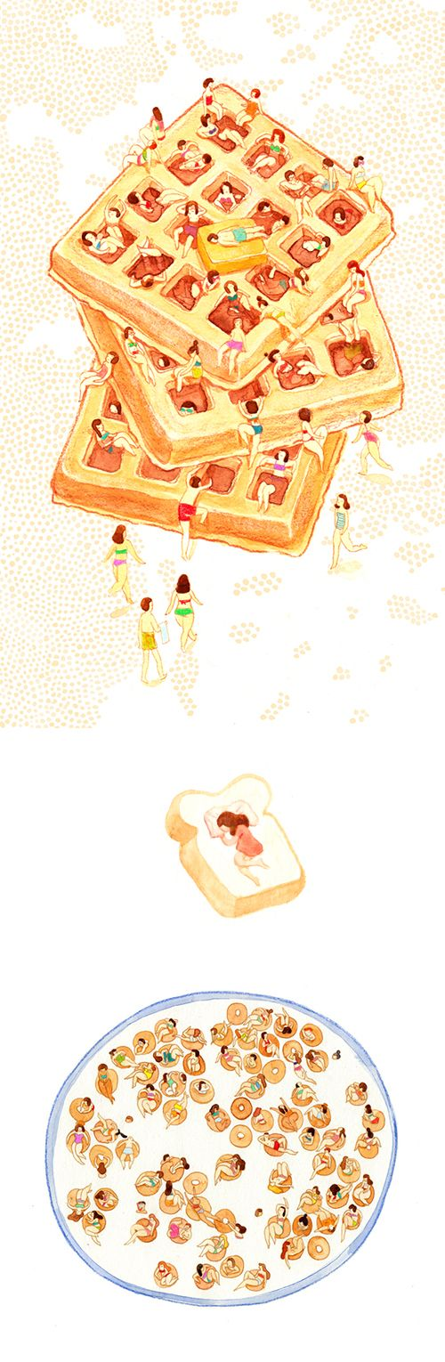 'Comfort Food', a series of food illustrations by Monica Ramos