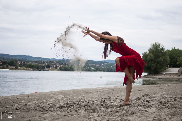 https://flic.kr/p/xBy1eY | Wild rose - by KLAUS Photography by Olivera Radosavljevic | Female dancer in red dress throwing sand  on the beach.