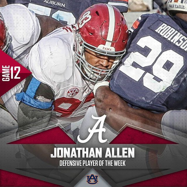 Jonathan Allen named Defensive Player of the Week. #BAMAvsAUB #RollTide  #Alabama #RollTide #BuiltByBama #Bama #BamaNation #CrimsonTide #RTR #Tide #RammerJammer #ALAvsAUB #IronBowl