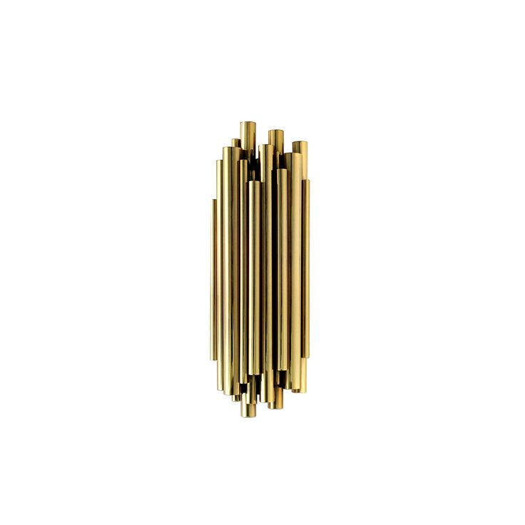 Back to art deco and again with musical inspiration, this time through the dramatic pipe organ. Brubeck fixture lamp is an instant classic sculptural design. With an extravagant shape and superior materials creates an elegant look full of refinement and modernity. Every brass tube is welded together by hand. Custom made versions upon request.