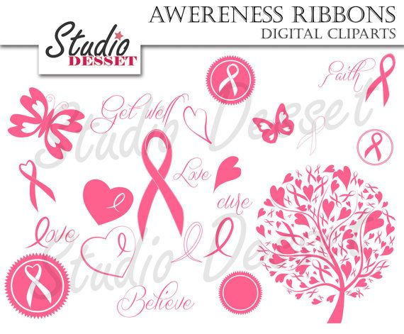 Awareness Ribbon Clipart, Breast Cancer Ribbons, Pink Tree, Butterfly and Heart, Dare to Care Clip Art,  C187