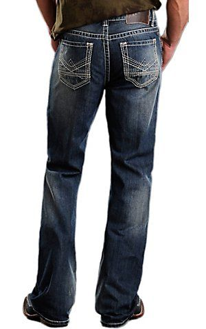 Rock & Roll Cowboy Medium Stonewash Reverse Denim Double Barrel Relaxed Fit Boot Cut Jeans