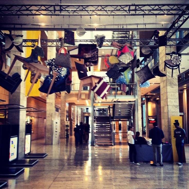 Hanging furniture on display @ Design Indaba