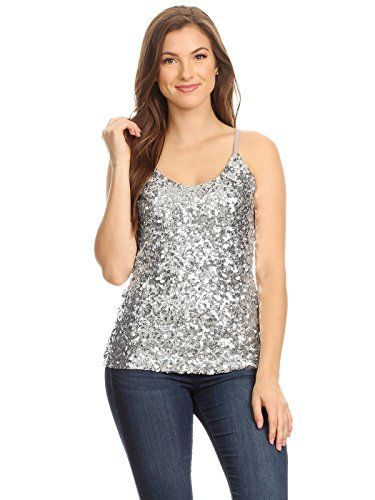 5a51c12543d651 New Anna-Kaci Womens Shimmer Sequins Club Spaghetti Strap Camisole Vest  Tank Tops Women fashion Tops.   14.99 - 25.99  allfashiondress offers on top  store