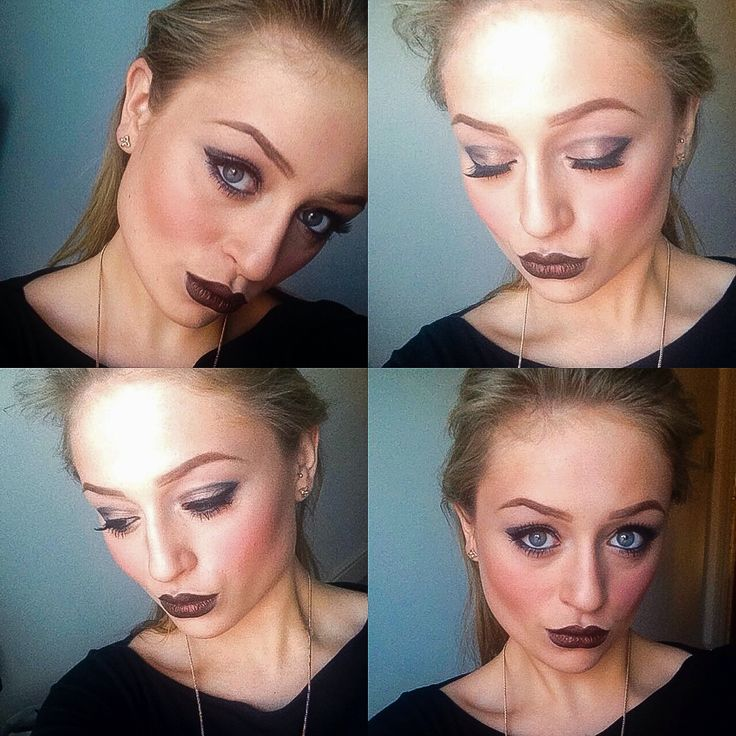 Today's look - Grey and black eye with a shimmery dark rusty gold lip, a glow to the skin using all MAC products - created by Evie cox