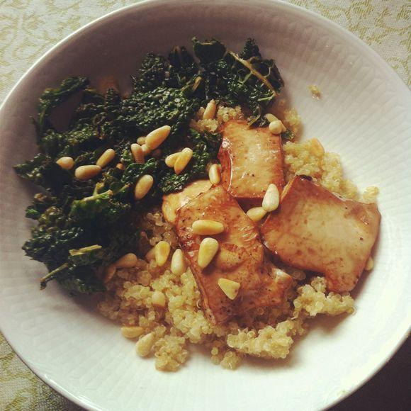 Quinoa, tofu, tuscan kale & pine nuts. | Food | Pinterest
