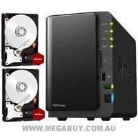 Synology BUNDLE:  1 Synology DiskStation DS214play 2-Bay Media Center NAS + 2 WD WD10EFRX Red 1TB SATA 3.5 NAS Hard Disk Drive HDD