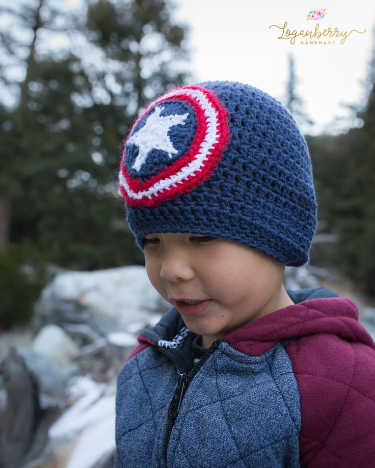crochet captain america beanie, free crochet pattern and tutorial, diy captain america hat, crochet captain america shield, captain america beanie, handmade captain america hat, crochet for boys, crochet super heroes
