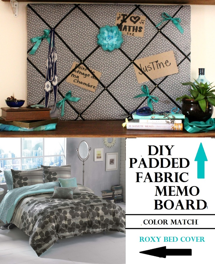 diy padded fabric memo board and color match for a teen. Black Bedroom Furniture Sets. Home Design Ideas