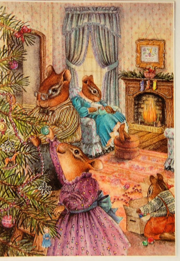 Vtg 1986 SUSAN WHEELER Postcard An Old-Fashioned Christmas/Dec 21 Decorating for