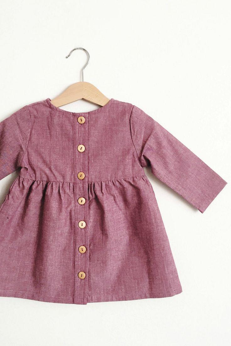 Girls Handmade Plum Cotton Dress | HelloTalaria on Etsy