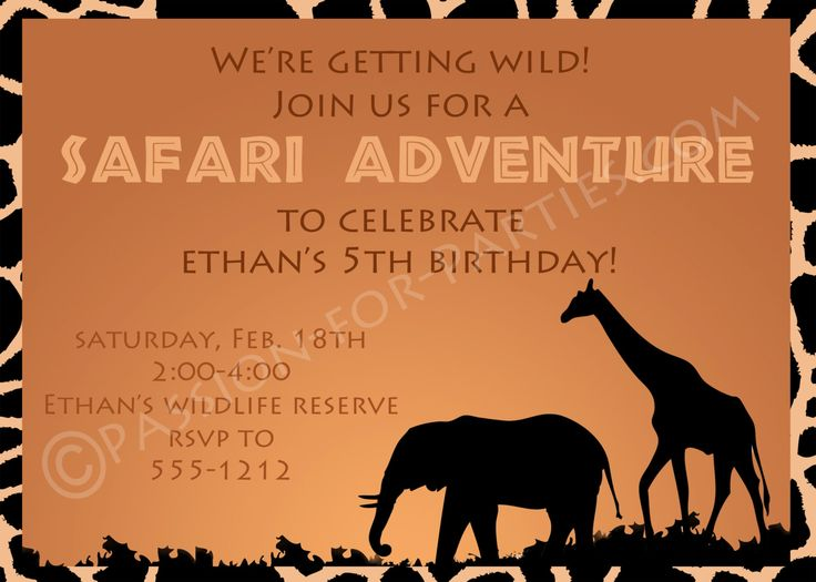 Safari Party Invitations | Safari, Party invitations and Safari party