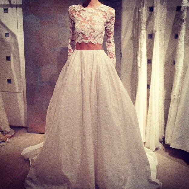 Reem Acra crop top wedding  dress