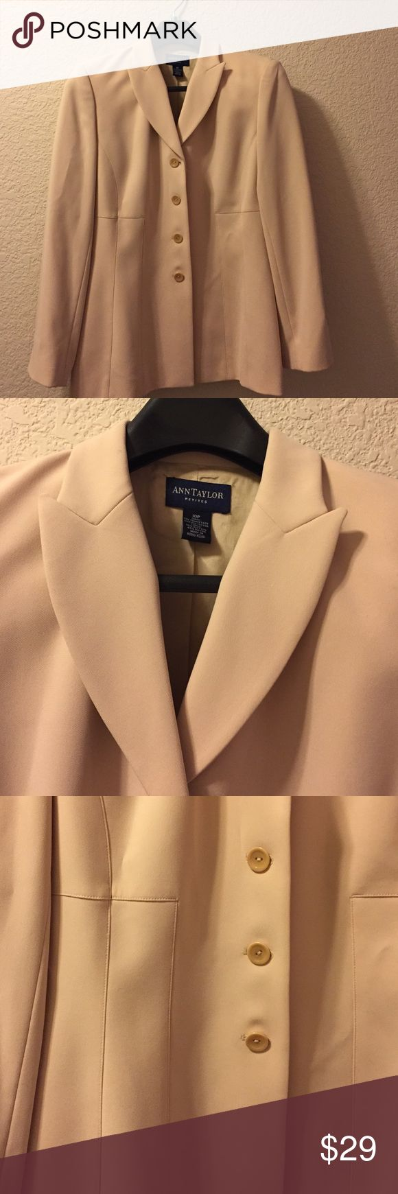 Ann Taylor 10 petite cream jacket Beautifully made size 10 petite Ann Taylor long jacket.  Button down front. Great with dress pants, skirts or over a dress. 71% triacetrate 29% polyester. Ann Taylor Jackets & Coats Blazers