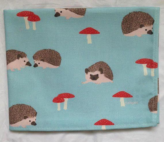 Hedgehog tea towel  hedgehog kitchen towel  toadstools tea