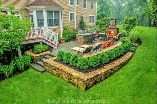 Backyard Stonework Patio With Plantings