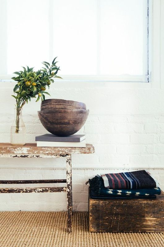 Rustic Elements Composed In A Bright Modern Interior Vignette
