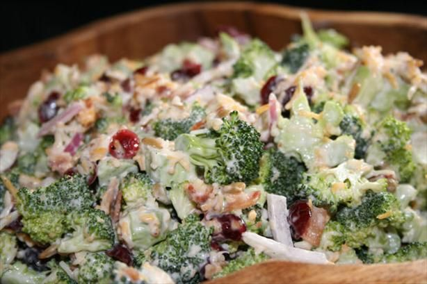 Broccoli and Cranberry Salad. Photo by ~Nimz~  had this with cauliflower and red cabbage(I think)..  dressing was mayo, vinegar, splenda, and ranch dressing (the one with bacon)  it was so good...