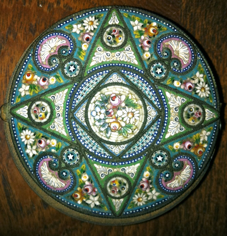 Antique Italian Micro Mosaic Pill Box. Can't wait to add more of these to my collection while I'm in Italy!